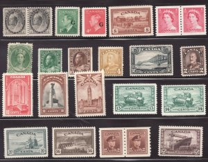 24 Old Canadian stamps - Mid Century -½ MH & ½ MNH - Superfleas - Cv $160