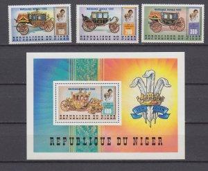 Z4111, 1982 niger mnh set + s/s #595-8 ovpt,s royality