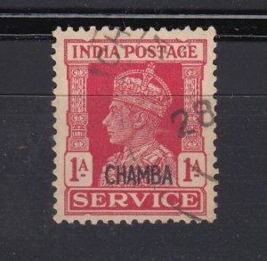 J28358 1941-6  india states chamba used #o59 ovpt king