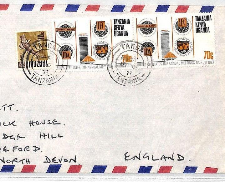 BT289 1973 TANZANIA/BRITISH KUT MIXED FRANKING *Tanga* Commercial Airmail Cover