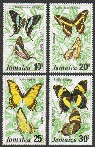 Jamaica 398-401,401a sheet,MNH.Michel 398-401,Bl.8. Butterflies,1975.Graphium