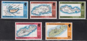 Alderney 37-41 Hinged 1989 Historic Maps of St. Anne