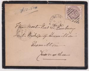 Ireland to Canada Forerunner with GB #101 Tied by Dublin 186 Diamond Cancel