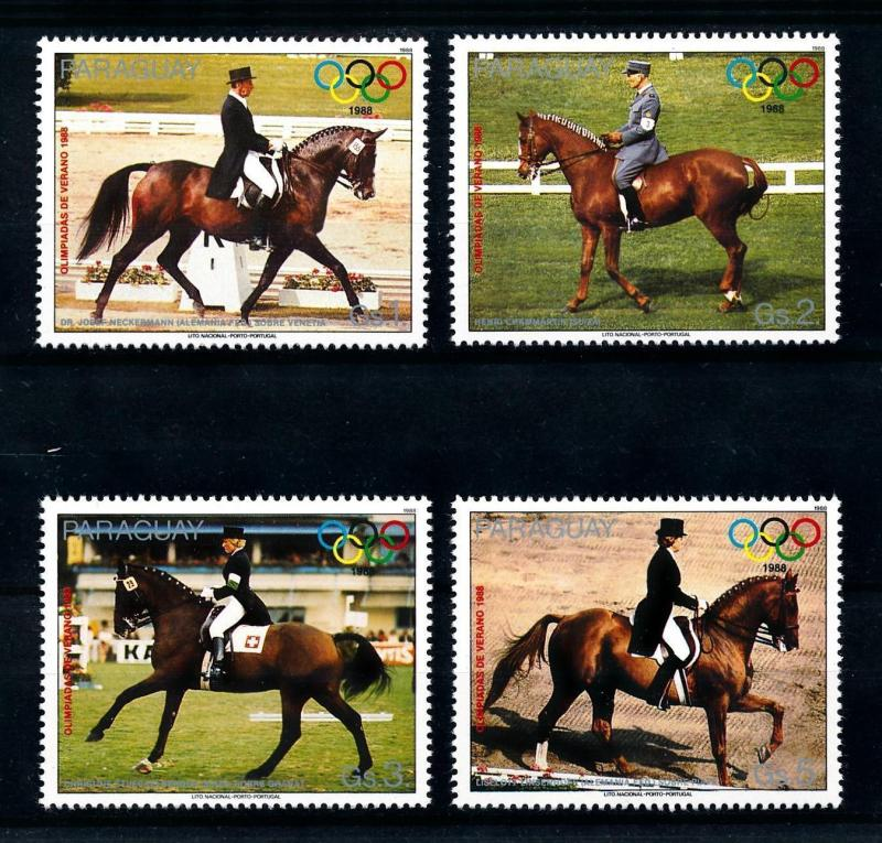 [92267] Paraguay 1988 Olympic Games Seoul Equestrian Horses  MNH