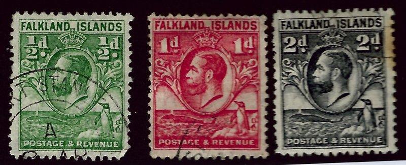 Falkland Islands SC#41-43 Used F-VF sl toning SCV$15.00...Fill a Key Spot!!