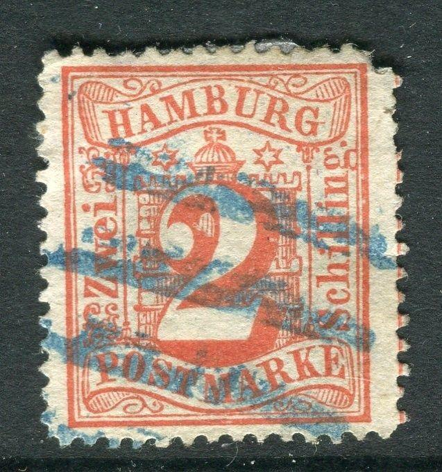 GERMANY  HAMBURG;  1864-5 classic perf issue 2s. used value,