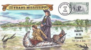 COLLINS HAND PAINTED FDC Sc# 3209a Trans Mississippi 1998 First Day Issue Cover