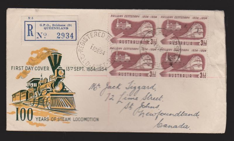 AUSTRALIA Scott #275 On FDC 100 Years Of Steam Locomotion Unknown Thermal Cachet