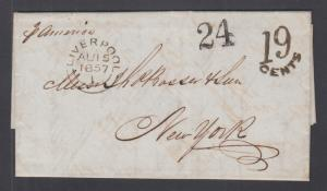 Great Britain 1857 Transatlantic Stampless SFL, Liverpool-New York, per America