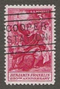 US#1073 1956 3c Benjamin Franklin, XF/Superb Used * #S15