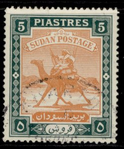 SUDAN GVI SG106, 5p brown-orange & deep green, FINE USED.