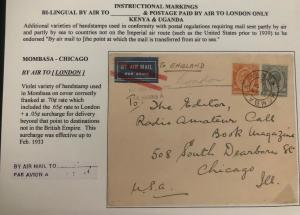 1932 Mombasa Kenya Early Airmail Cover To Chicago IL USA Via London England