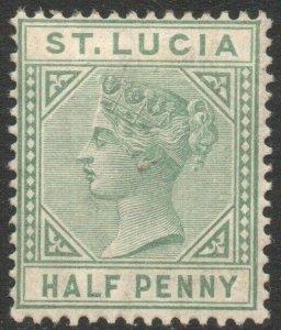 ST LUCIA-1883-86 ½d Dull Green Sg 31 light gum toning MOUNTED MINT V46346