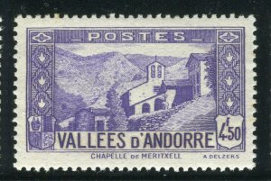 FRENCH ANDORRA; 1932 early Pictorial issue fine Mint hinged 4.50Fr. value