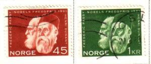 Norway Sc 401-2 1961 Nobel Prize stamps used