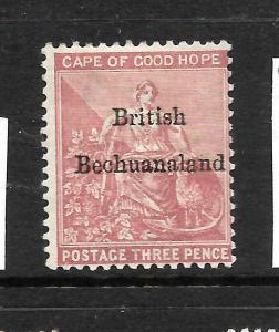 BRITISH BECHUANALAND  1885-87  3d  PALE CLARET   MH  SG 2