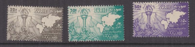 SYRIA, 1957 Afro-Asian Jurists Congress set of 3, mnh.