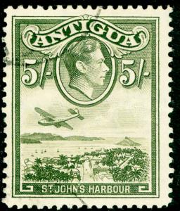 ANTIGUA SG107, 5s olive-green, FINE USED, CDS. Cat £14.