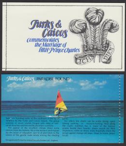 Turks and Caicos Charles and Diana Royal Wedding Booklet SG#SB4