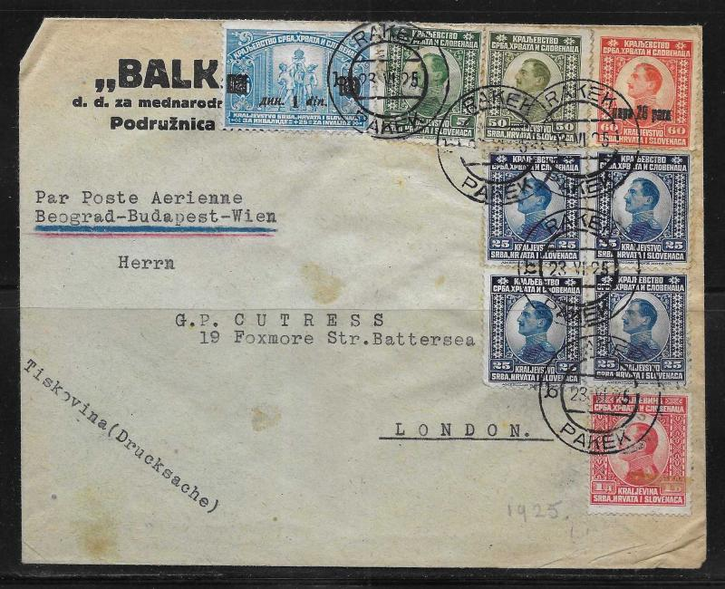Yugoslavia 1925 Flight Cover Belgrade to London via Budapest and Vienna