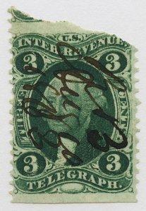 B39 U.S. Revenue Scott R19b 3-cent Telegraph part perf 1863 manuscript cancel
