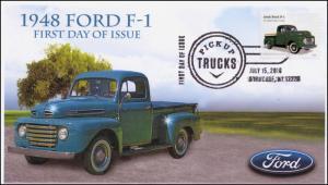 2016, Pickup Trucks, 1948 Ford F-1, FDC, B/W Pictorial, Syracuse NY, 16-145