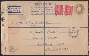 GB 1948 Registered envelope to New Zealand - Officially sealed..............3382