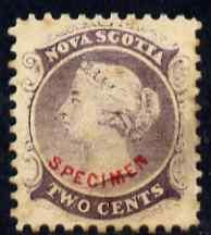 Nova Scotia 1863 QV 2c purple with SPECIMEN overprint in ...