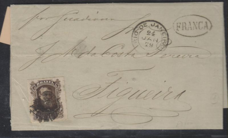 O) 1879 BRAZIL,(JAN 24) MARITIME MAIL TO FIGUEIRA, PORTUGAL