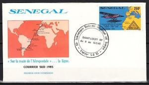 Senegal, Scott cat. C149. Air Post, Stamp on Stamp issue. First day cover.