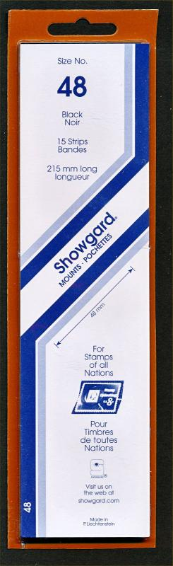 Showgard Stamp Mounts Size 48/215 mm BLACK Strip  (Pack of 15) (48x215  48mm)