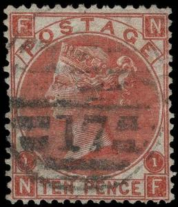 Great Britain Scott 53 Plate 1 Gibbons 112 Plate 1 Used Stamp