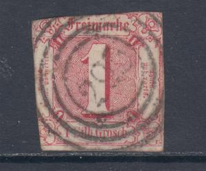 Thurn & Taxis Sc 18 used 1863 1sgr rose imperf Numeral, 295 in target cancel