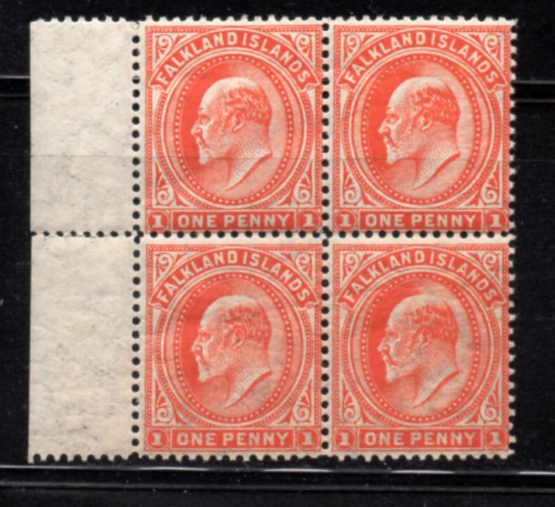 Falkland Islands Sc 23a 1904 1c Edward VII mint stamp blovk of 4