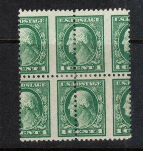 USA #498 Mint Scarce Misperf Block Full Original Gum Lightly Hinged