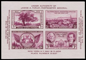 US 1936 Scott #778 3c TIPEX 3rd INTN'L PHILATELIC EXHIB. 4 STAMP SOUVENIR SHEET