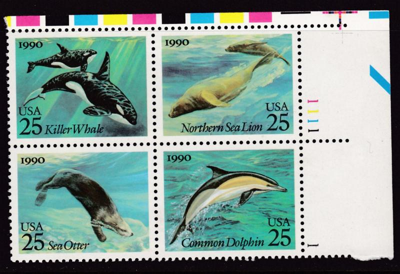United States 1990 Sea Creatures Dolphin Whale Otter Plate Number Block VF/NH