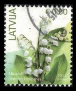 LATVIA 2014 0.50 € #870 USED LILLY OF THE VALLEY