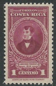 Costa Rica # 244  President Fernandez     (1) Unused VLH