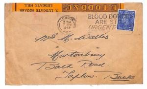 T147 1948 GB Machines Advert Blood Donors Bucks Cover {samwells-covers}PTS
