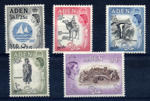Aden 1953 sg 64 - 71 QEII high values, mounted Mint