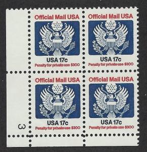 UNITED STATES SC# O130 VF MNH 19683 PL#3 LL B/4