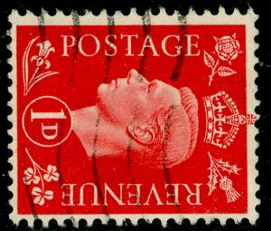 SG463a, 1d scarlet, USED. WMK SIDEWAYS.