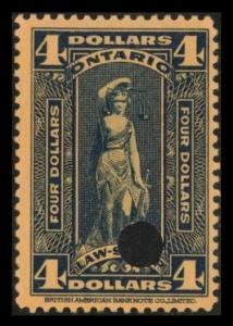 ONTARIO REVENUE TAX 1929 SCARCE $4. #OL82 VINTAGE LAW STAMP