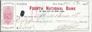 RN-B10 on C.S. Sloane & Co Check, Used, Revenue Stamped P...