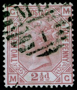 SG141, 2½d rosy mauve plate 12, USED. Cat £85. MG