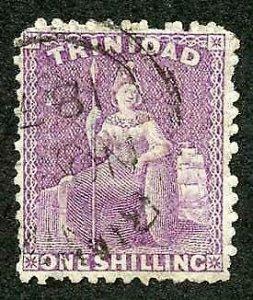 Trinidad SG73b 1/- Mauve (aniline) Wmk Crown CC Perf 12.5 Fine used