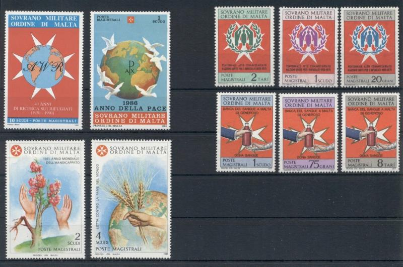 Medicine Refugees Charity Peace Sovereign Order of Malta 10 MNH stamps set