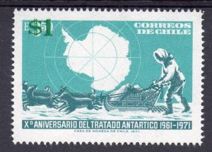 Chile 1982 Sc#630 ANTARCTIC TREATY Map and Dog Sled (1) ovpt.$1  MNH