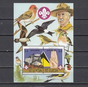 St. Lucia, Scott cat. 823 B only. Scout Anniv., Birds s/sheet with SPECIMEN o/p.